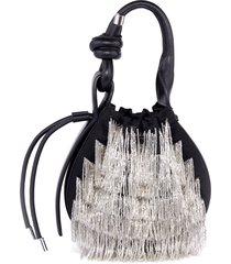 behno mini ina beaded bucket bag - black