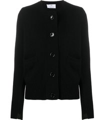 allude button front knitted cardigan - black