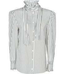alberta ferretti tie-neck striped shirt