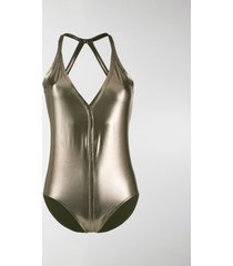rick owens metallic effect swimsuit