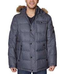nautica men's parka with removable faux-fur trimmed hood