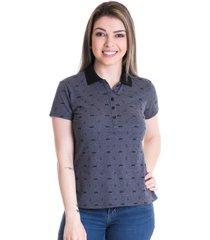 camisa polo konciny piquet estampado 96605 cinza - cinza - feminino - dafiti