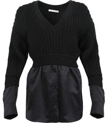 bi-layer v neck cable pullover with satin shirting