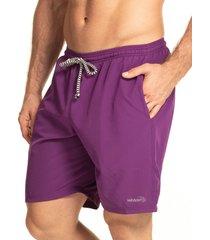 pantaloneta silueta larga hawai para hombre-uva