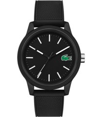 lacoste men's 12.12 black silicone strap watch 42mm