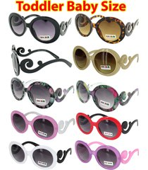 kids toddler baby designer inspired round frame sunglasses baroque swirl arms