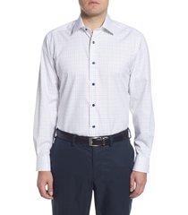 men's david donahue regular fit windowpane dress shirt, size 16 - 32/33 - green