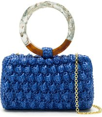 serpui popcorn crochet straw clutch - blue