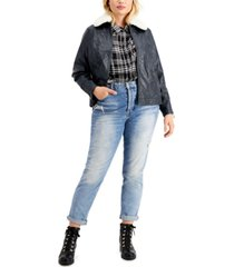 jou jou juniors' trendy plus size faux-fur-collar faux-leather jacket