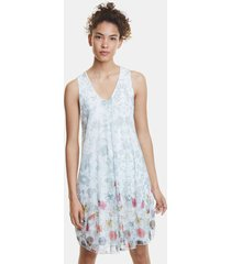 double floral print dress - white - xxl