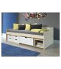sofá cama floro 4 gavetas 1 gavetão 1 nicho - natural/branco