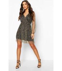 leopard mesh wrap skater dress, brown