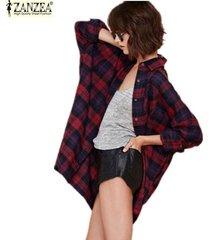 zanzea clásico de la tela escocesa de la blusa de la nueva llegada de las mujeres flojas ocasionales de manga larga tops da vuelta-abajo camisas (rojo) -rojo