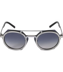 double-bridge round frame sunglasses