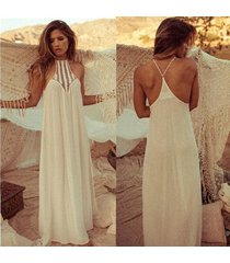 new arrival women summer maxi dress lace patchwork crochet bohemian backless dre