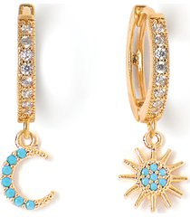 tess + tricia stars & moons mismatched drop hoop earrings in gold/turquoise at nordstrom
