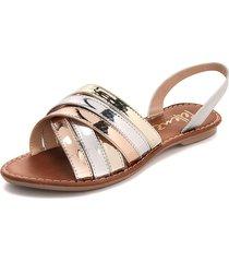 sandalia dama plata*ororosa*dorado tellenzi 1963