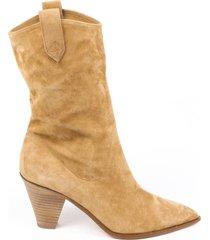 aquazzura boogie cowboy bootie brown suede western boots brown sz: 4.5