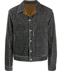 emporio armani all-over print jacket - grey