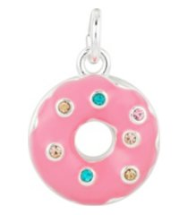 fine silver plated pink enamel and crystal donut charm