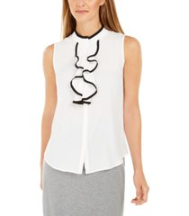 calvin klein petite sleeveless ruffled button-front top