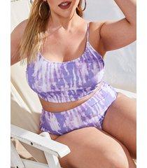 plus size tie dye print spaghetti strap padded bikini set