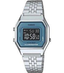 reloj casio la680wa 2b retro lujoso para dama plateado/azul/negro