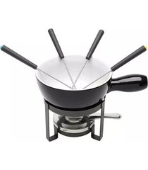 aparelho de fondue de cerâmica lyor preto com 8 peças