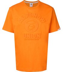 aape by *a bathing ape® embossed short sleeved t-shirt - orange