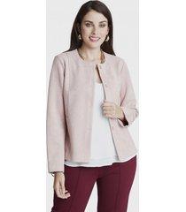 chaqueta cuello redondo rosa lorenzo di pontti