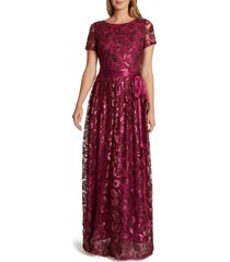women's tahari short sleeve sequin a-line gown, size 14 - none