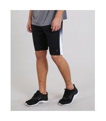 bermuda masculina esportiva ace com recorte lateral preta