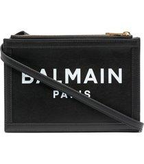 balmain b-army 26 clutch - black