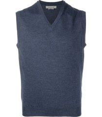 corneliani fine knit v-neck vest - blue