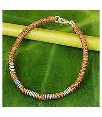 silver accent wristband bracelet, 'thai sabai in caramel' (thailand)