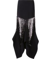 dion lee mesh panel skirt - black