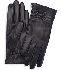 royce new york women's cashmere- lined touchscreen leather gloves - black - size s