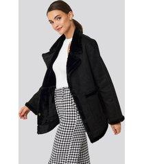 na-kd big pocket faux suede jacket - black