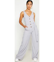 geribbelde jumpsuit met ceintuur, zakken en hoornen knopen, grijs