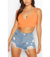 shirred back plunge crop top, orange
