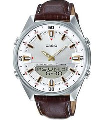reloj analógico-digital hombre casio amw-830l-7a - marrón con blanco