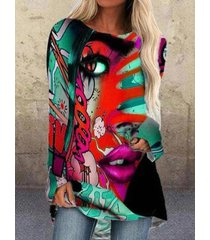 camicetta casual da donna con scollo a manica lunga con stampa a cartoni animati