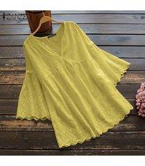zanzea mujeres bell camisa ocasional flojo tops ahueca hacia fuera la blusa de encaje detalle del puente -amarillo