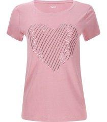 camiseta corazon lentejuelas color rosado, talla s