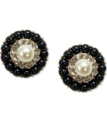 charter club gold-tone pave & imitation pearl cluster mini stud earrings, created for macy's