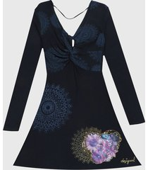 vestido azul navy-multicolor desigual