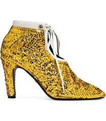 gucci sequin-embellished ankle booties - gold