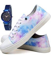 tênis sapatênis fashion tie dye com relógio sky feminino dubuy 735el colorido