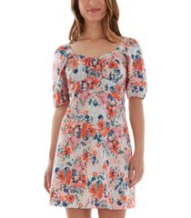 bcx juniors' printed puff-sleeve dress
