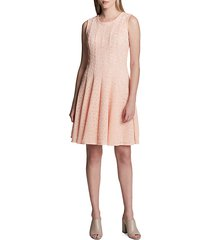 perforated fit-and-flare dress
